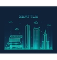 Seattle skyline trendy linear vector image