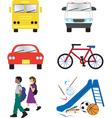 school transportation icons vector image vector image