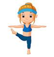a smiling girl doing yoga vector image