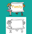 children and sheet paper with inscription family vector image