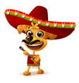 mexican dog in sombrero plays guitar vector image