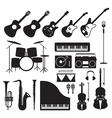 Music Instruments Silhouette Objects Set vector image