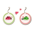 set of tags with ladybirds in love vector image