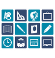 Flat School and education icons vector image vector image