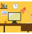 Working space with computer lamp picture watch vector image