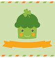 St Patricks Day cupcake card vector image