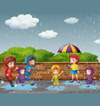 many children running in the rain vector image
