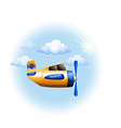 A yellow vintage plane in the sky vector image
