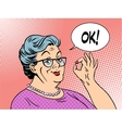 old woman grandma okay gesture vector image