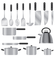 set of silver kitchen utensils vector image vector image