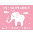 White Baby Elephant Birth Announcement Card vector image