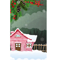 Brick house in winter forest vector image