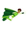 ecological black superhero man in green costume vector image