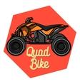 Color vintage quad bike emblem vector image
