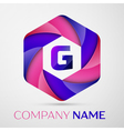 G Letter colorful logo in the hexagonal on grey vector image