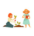 Young cartoon girls plant sweet beet isolated vector image