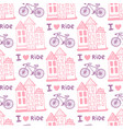 hand drawn seamless pattern with cute houses and vector image