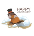 Happy Groundhog Day Marmot climbed out of hole vector image