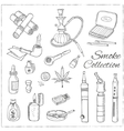 Doodle retro smoke set with hookah vape cannabis vector image