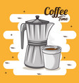 coffee maker and cup of coffee design vector image