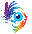 eye art and splash eyelashes on white background vector image