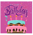 happy birthday cake purple background image vector image