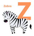 orange character z word zebra on alphabet card vector image