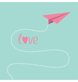 Origami pink paper plane Dash line in the sky Love vector image