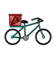 pizza bycicle flat scribble vector image