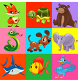 Set of animals with background vector image