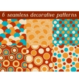 Set of colored retro circle seamless pattern vector image