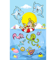 Summer time at sea with dolphin vector image