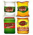Four bags of bacon vector image