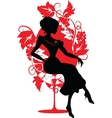 Silhouette of woman sitting on a chair vector image