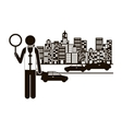 black silhouette traffic guard in city with cars vector image