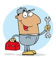 Happy Hispanic Mechanic Guy vector image vector image