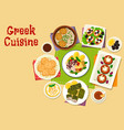greek cuisine healthy dishes icon design vector image