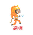 cute cartoon fireman character using water hose vector image