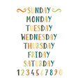 handwritten grunge colorful days of the week vector image