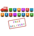 free delivery symbol - train with colorful car vector image