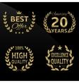 Golden laurel labels vector image