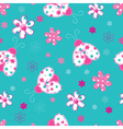 Cute seamless pattern with ladybugs and flowers vector image vector image