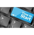 Time to start text button on keyboard keys vector image