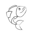 Blurred sketch silhouette of largemouth bass fish vector image