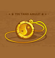 cartoon golden circle old amulet yin yang vector image