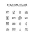 documents identity flat line icons id vector image