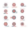 Geometric logo set with circular mosaic vector image