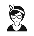 Hipster girl simple icon vector image