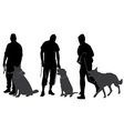Man walking his dog silhouette vector image