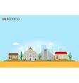 Mexico landmarks skyline vector image